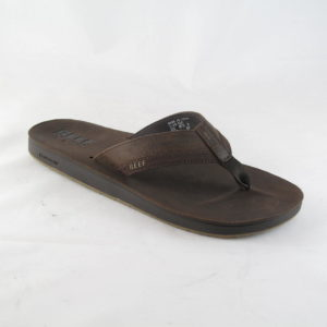 Reef Leather contoured cushion slipper Bruin