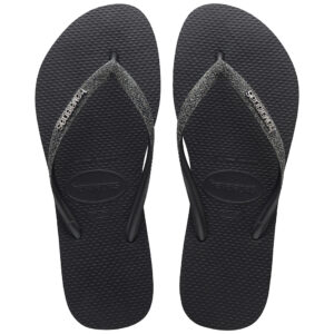 Havaianas Slim Dames Teenslipper Glitter Black Grey